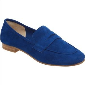Marc Fisher Chang Penny Loafers in Blue Suede